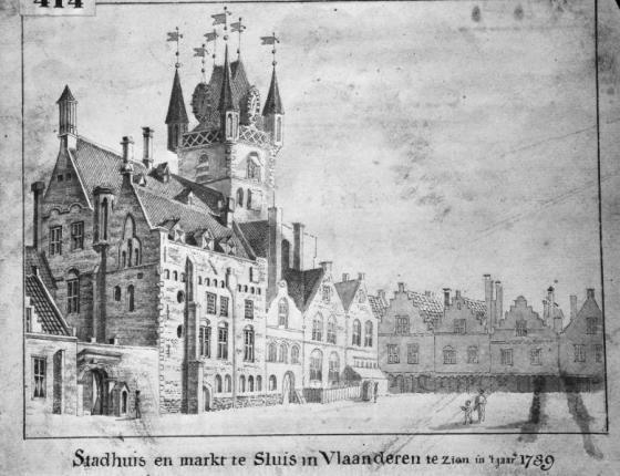 Sluis - stadhuis en Markt 1739 (RCE)